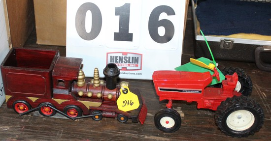 WOODEN TRAIN ENGINE AND INTERNATIONAL TRACTOR, NO BOXES