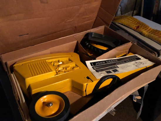 JOHN DEERE PEDAL TRACTOR INDUSTRIAL TRACTOR NEW IN BOX NEVER ASSEMBLED, HARD TO FIND