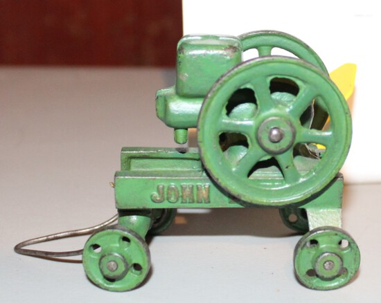CAST IRON JOHN DEERE ENGINE ON CART, MADE BY VINDEX,  HAS PAINT CHIPS