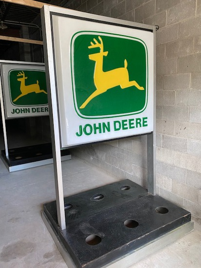 John Deere Double Sided Lighted Approx 4'x4' Sign with Stands, Flower Holders and Origin