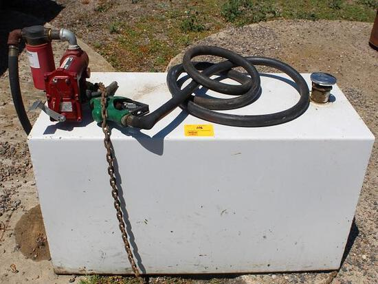 Approx 100 Gal Pickup Diesel Fuel Barrel, Rectangle, 12V, 20 GPM Fill-Rite Pump Auto Nozzle