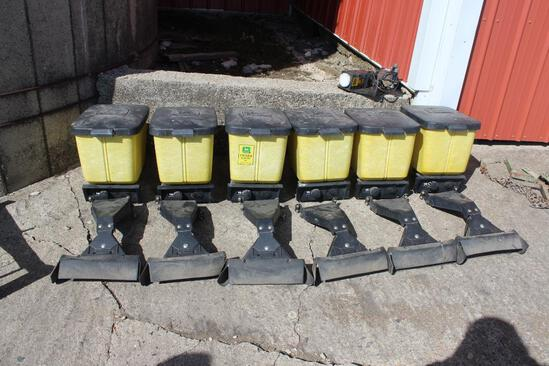 (6) herbicide/insecticide boxes off JD 7200 max emerge 2 planter complete with lids,