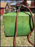 80 Gal Field Fuel Tank w/ 12 Volt Pump, GPI Transfer Pump Model 120H, SN: H-02046, 12 Volt, 14 Amp