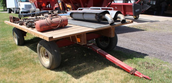 "Flat Rack on 4 Wheel HD Gear, 11L-15 Tires, 8'x13'10"" Wood Deck"