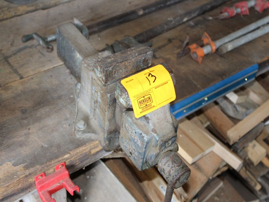 "5"" Bench Vise, (5) Pipe Clamps, Saw, Buyer needs to unbolt from bench"