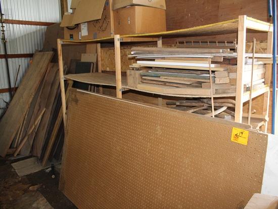 Misc. Lumber Against Shed Inside Of Shed, Shelf