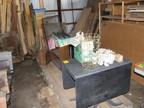 Items on Long Wood Pallet, Table, Pop Cans