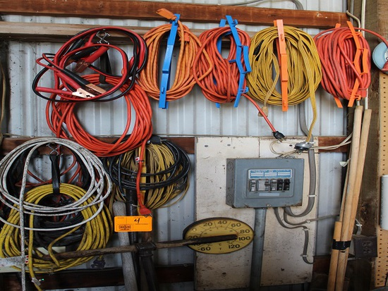 110v Cords on Wall and Floor, Bars, Hand Tools