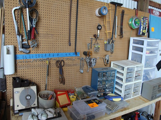 Contents of Benchtop and Wall, Organizers, Dole Moisture Tester, Bars