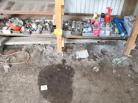 Contents of Lower Bench, Pipe Fittings, Clamps, Bench not included
