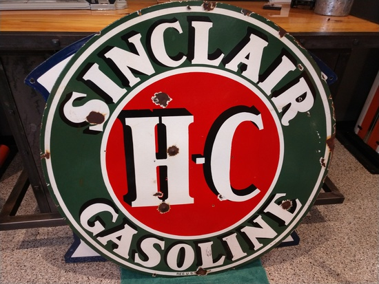 4' SINCLAIR DOUBLE SIDED PORCELAIN SIGN, HC