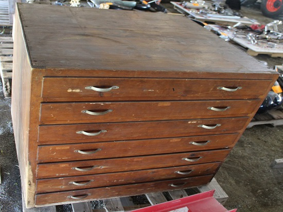 MACHINIST CABINET, WOOD, (7) DRAWERS