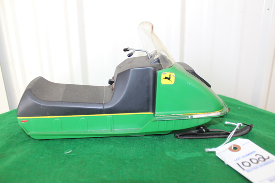 John Deere snowmobile battery operated toy, not tested, no box
