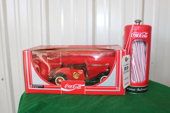 Cocal Cola replica car and canister with straws