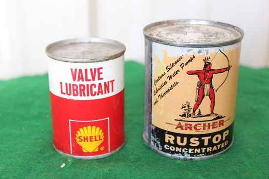 Shell valve lubricant can, Archer rustop concentrated can, both unopened