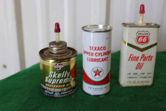 Texaco Upper cylinder lubrican unopened, Phillips 66 oiler, Skelly Supreme