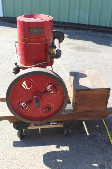 1.5 HP Vertical Gas Engine, Unknown Mfg, with John Deere Plow Co. Tag