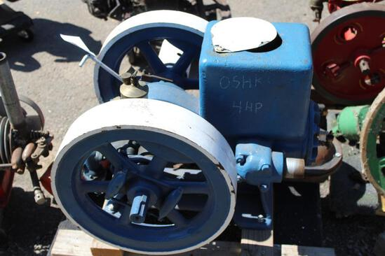 OshKosh 4HP Gas Engine, spark plug ignition, oiler, motor is free,