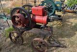 Jacobson 7.5HP Hopper Cooled Side Shaft Gas Engine on Steel Wheeled Truck, Appears Complete