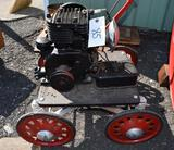 Briggs and Stratton Model Y Kick Gas Engine, Restored, on Homemade Shop Built Cart