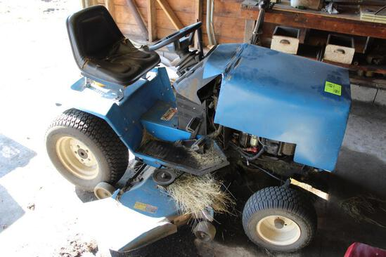 """NEW HOLLAND TRACTOR STYLE RIDING LAWN MOWER, MODEL LS-45H, HYDRO, 48"""" DECK, HOOD IS HOMEMADE"""