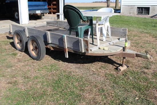 """66"""" X 14' TANDEM AXLE HOMEMADE TRAILER AND RAMPS, NO TITLE, NO FENDERS; TRAILER ONLY"""