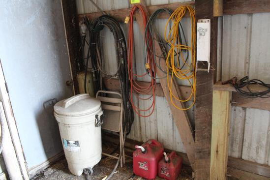 MISC. ELECTRICAL CORDS (2) GAS CANS, WASTE BASKET, HOSES, LIGHT