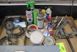 TWO GEAR PULLERS, WIRE BRUSHES, MISC BOX OF CLEANING SUPPLIES