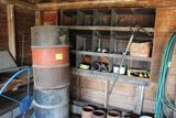 55 GALLON BARRELS, OIL PUMP, SPRINKLERS, 30 GALLON BARREL WITH PUMP AND MORE
