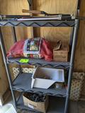 TWO POLY SHELVES, PRUNING SHEARS, PRESSURE WASHER WAND, SPRINKERS, GARDEN HOSE, MISC