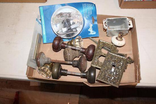 Antique door knobs, metal and glass