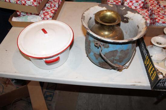 White enamel kettle and enamel bucket