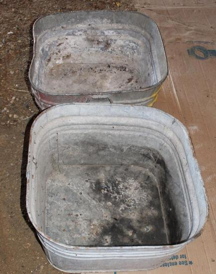 (2) Square galvanized wash tubs used for planters