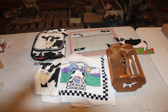 Cow cutting board, hand towels and wood basket