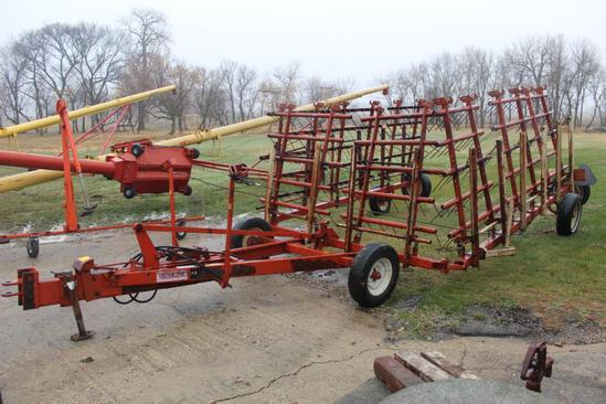 40' MELROE 403 8 SECTION SPRING TOOTH DRAG ON CART