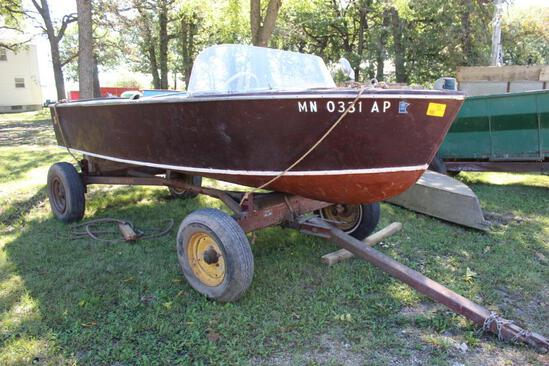 1956 Chris Craft 15' Wood Boat, Phatom Four-75 Inboard Engine, Windshield, On MN 4 Wheel Wagon Gear