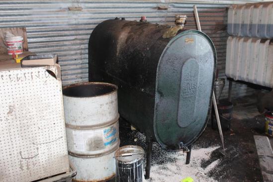 265 GALLON STEEL WASTE OIL TANK, EMPTY