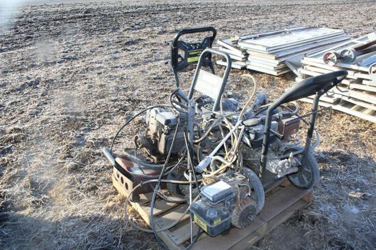 (4) PRESSURE WASHERS FOR PARTS, ROLLER TRACK