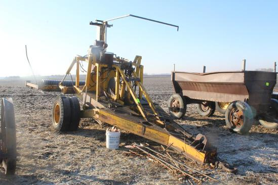 """TILE PLOW, PULL TYPE, DUAL WHEELS, 4"""" TO 6"""" BOOT, REEL HOLDS APPROX 3000' ROLL OF 4"""" TILE,"""
