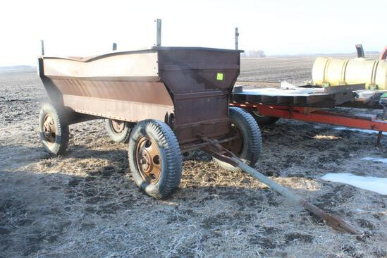 STEEL FLARE BOX, RUNNING GEAR, TRUCK TIRES, NO END GATE