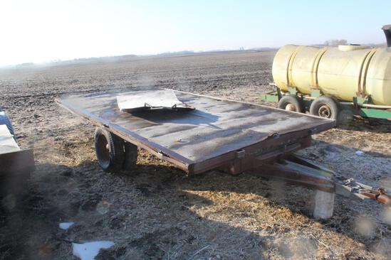 STEEL DECK TRAILER, SINGLE AXLE, DUAL TRUCK TIRES, TILT DECK, SOLD WITH STONE BOAT