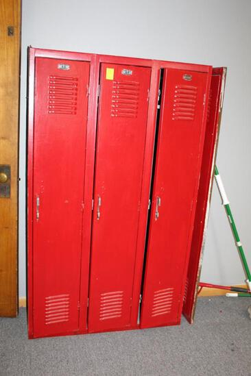 Red Triple Locker Unit with Extra Front Door Section