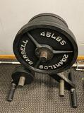 (2) 45lb, (3) 35lb and (3) 5lb Weights with Weight Stand