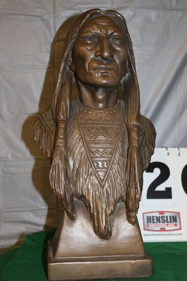 "CERAMIC NATIVE AMERICAN STATUE, APPROX. 17 1/2"" HIGH"