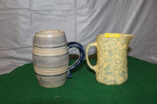 "APPROX. 4"" SPONGEWARE CREAMER AND STONEWARE CUP, HAS CHIPS AND CRACKS"