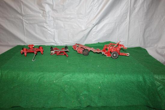 2 ROW PLANTER, PULL TYPE SICKLE MOWER, (2) 2 BOTTOM PLOWS, 1 NEEDS REPAIR, (2) RUBBER TIRES