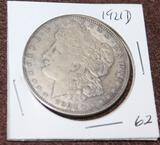 1921 D PEACE SILVER DOLLAR, EXTRA FINE