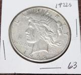 1922 S PEACE SILVER DOLLAR, ALMOST UNCIRCULATED