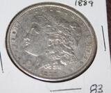 1889 MORGAN SILVER DOLLAR, ALMOST UNCIRCULATED