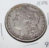 1880 S MORGAN SILVER DOLLAR, EXTRA FINE